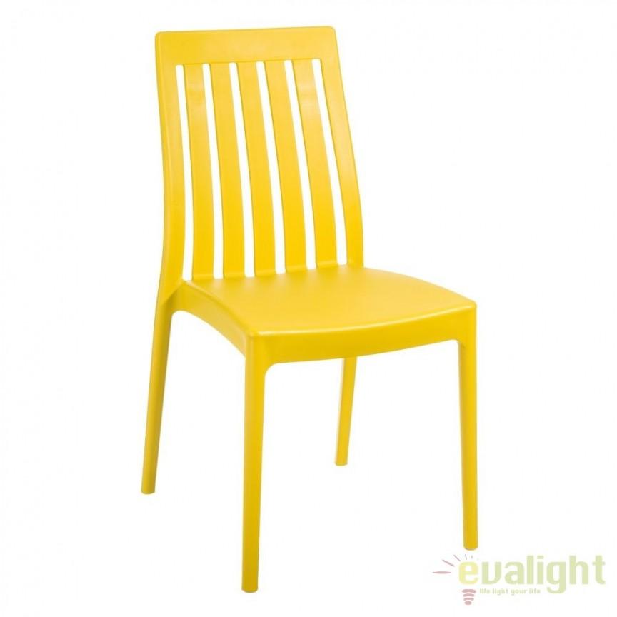 Set de 4 scaune din polipropilena Monik, galben SX-104201, Seturi scaune dining, scaune HoReCa, Corpuri de iluminat, lustre, aplice, veioze, lampadare, plafoniere. Mobilier si decoratiuni, oglinzi, scaune, fotolii. Oferte speciale iluminat interior si exterior. Livram in toata tara.  a