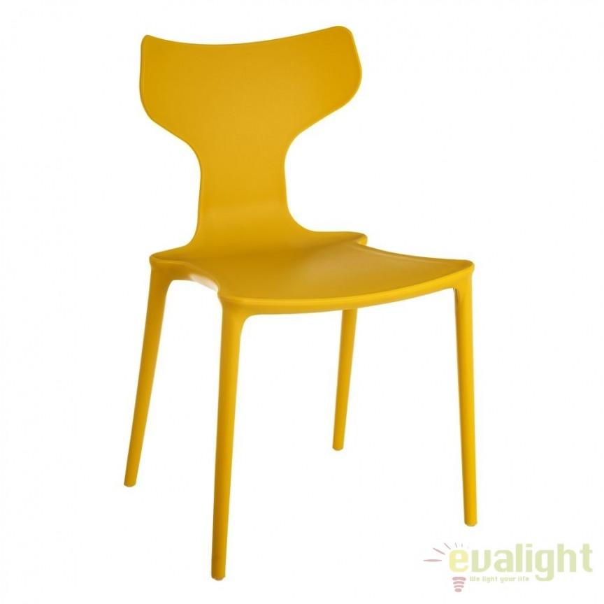 Set de 2 scaune din polipropilena Monica, galben SX-105459, Seturi scaune dining, scaune HoReCa, Corpuri de iluminat, lustre, aplice, veioze, lampadare, plafoniere. Mobilier si decoratiuni, oglinzi, scaune, fotolii. Oferte speciale iluminat interior si exterior. Livram in toata tara.  a