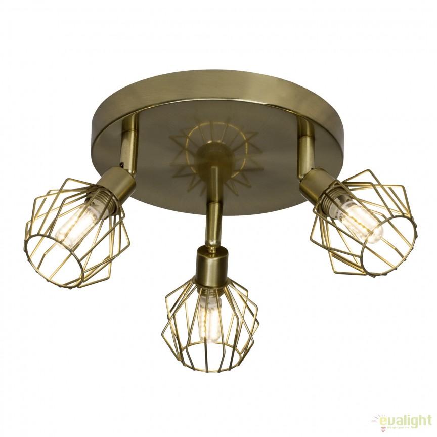Plafoniera LED design retro NORIS 3 alama antic G54134/31 BL , Spoturi - iluminat - cu 3 spoturi, Corpuri de iluminat, lustre, aplice, veioze, lampadare, plafoniere. Mobilier si decoratiuni, oglinzi, scaune, fotolii. Oferte speciale iluminat interior si exterior. Livram in toata tara.  a