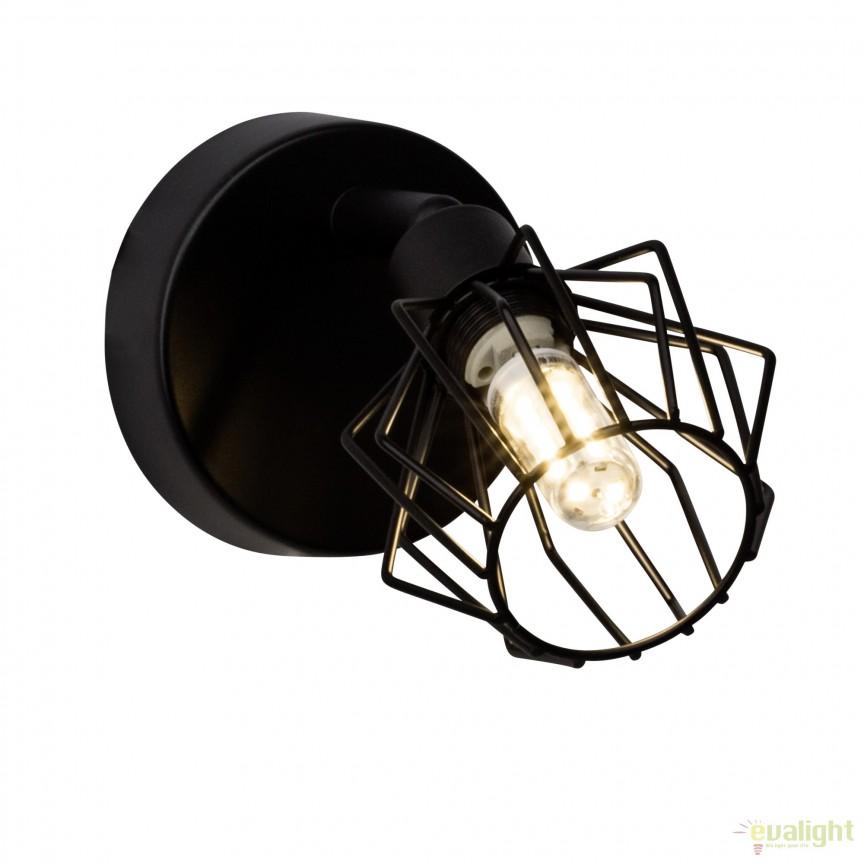 Aplica perete LED design retro NORIS I neagra G54110/06 BL , Spoturi - iluminat - cu 1 spot, Corpuri de iluminat, lustre, aplice, veioze, lampadare, plafoniere. Mobilier si decoratiuni, oglinzi, scaune, fotolii. Oferte speciale iluminat interior si exterior. Livram in toata tara.  a