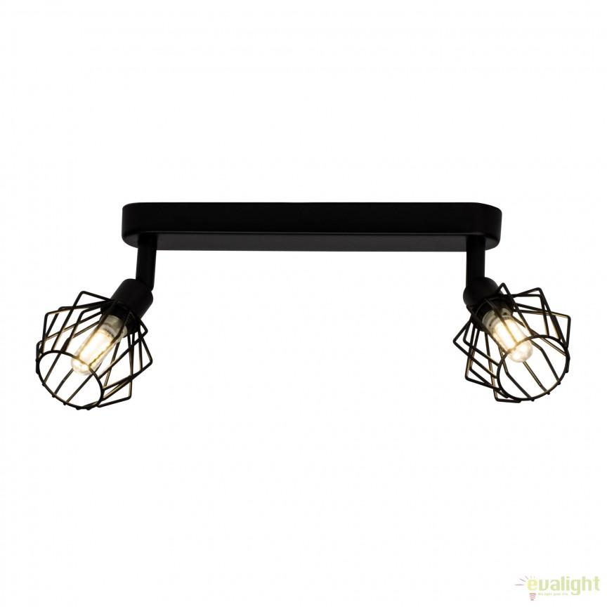 Plafoniera LED design retro NORIS 2 neagra G54129/06 BL , Spoturi - iluminat - cu 2 spoturi, Corpuri de iluminat, lustre, aplice, veioze, lampadare, plafoniere. Mobilier si decoratiuni, oglinzi, scaune, fotolii. Oferte speciale iluminat interior si exterior. Livram in toata tara.  a