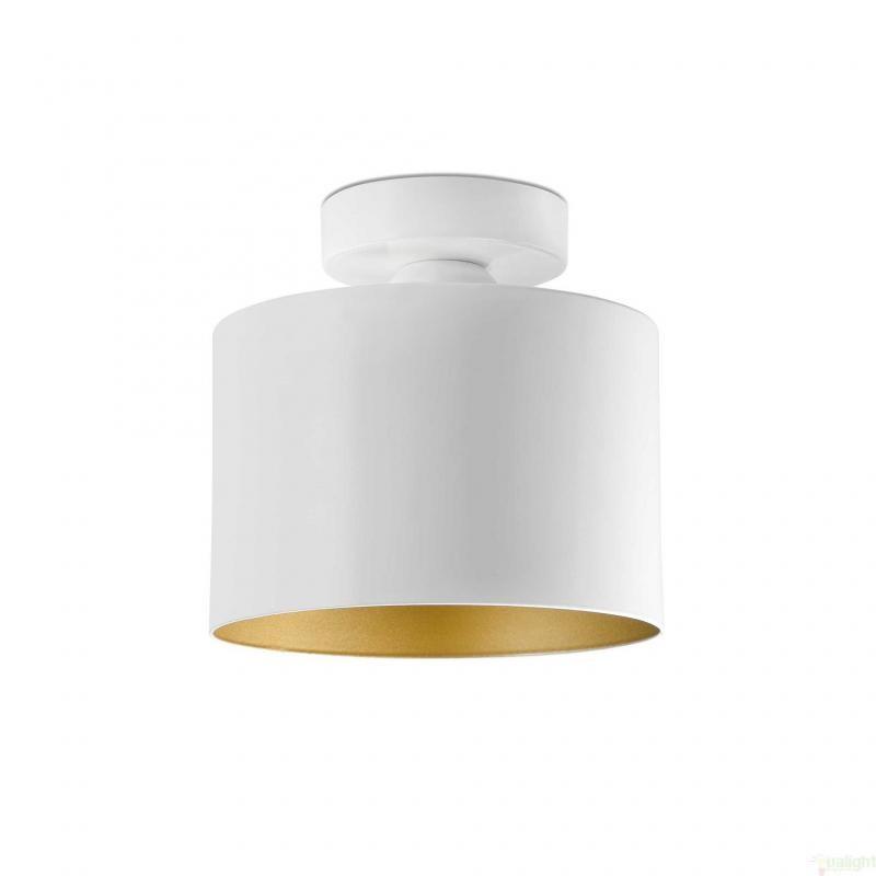 Plafonier modern, diam. 18 cm. alb/auriu, JANET 65137 Faro Barcelona , Spoturi incastrate, aplicate - tavan / perete, Corpuri de iluminat, lustre, aplice, veioze, lampadare, plafoniere. Mobilier si decoratiuni, oglinzi, scaune, fotolii. Oferte speciale iluminat interior si exterior. Livram in toata tara.  a