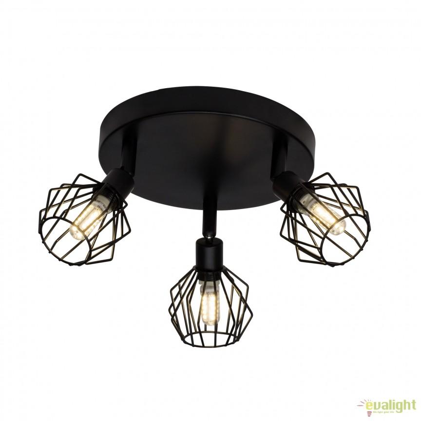 Plafoniera LED design retro NORIS 3 neagra G54134/06 BL, Magazin, Corpuri de iluminat, lustre, aplice, veioze, lampadare, plafoniere. Mobilier si decoratiuni, oglinzi, scaune, fotolii. Oferte speciale iluminat interior si exterior. Livram in toata tara.  a