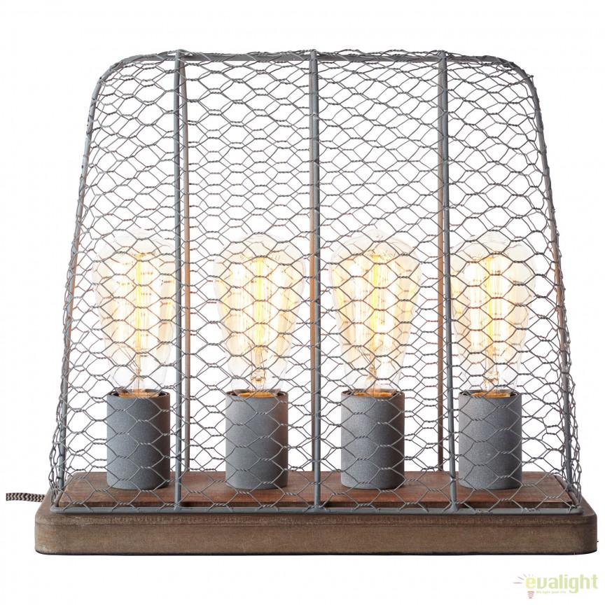 Veioza / Lampa de masa design Industrial Hutch gri 99018/70 BL, Veioze, Corpuri de iluminat, lustre, aplice, veioze, lampadare, plafoniere. Mobilier si decoratiuni, oglinzi, scaune, fotolii. Oferte speciale iluminat interior si exterior. Livram in toata tara.  a