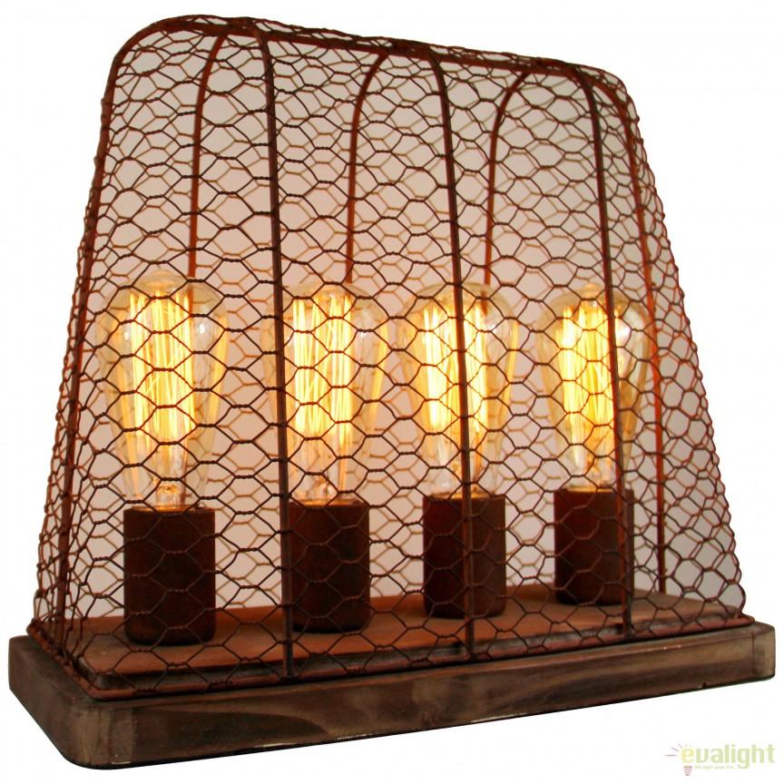 Veioza / Lampa de masa design Industrial Hutch ruginie 99018/60 BL, Veioze, Corpuri de iluminat, lustre, aplice, veioze, lampadare, plafoniere. Mobilier si decoratiuni, oglinzi, scaune, fotolii. Oferte speciale iluminat interior si exterior. Livram in toata tara.  a
