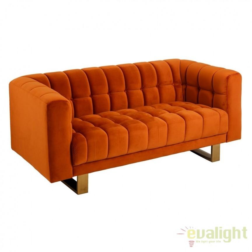 Canapea fixa 2 locuri, tapiterie din catifea, Albert portocaliu SX-105409, Canapele - Coltare, Corpuri de iluminat, lustre, aplice, veioze, lampadare, plafoniere. Mobilier si decoratiuni, oglinzi, scaune, fotolii. Oferte speciale iluminat interior si exterior. Livram in toata tara.  a