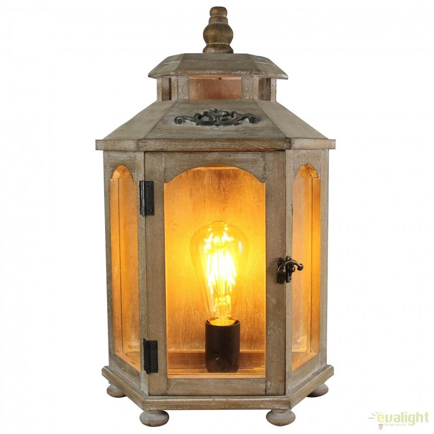 Veioza / Lampa de masa decorativa design retro Skylar 99016/09 BL, Veioze, Corpuri de iluminat, lustre, aplice, veioze, lampadare, plafoniere. Mobilier si decoratiuni, oglinzi, scaune, fotolii. Oferte speciale iluminat interior si exterior. Livram in toata tara.  a