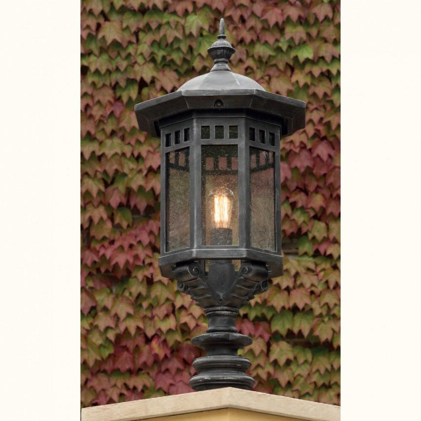 Stalp iluminat exterior din fier forjat, inaltime 94cm, AL 6739, Stalpi Fier Forjat,  a