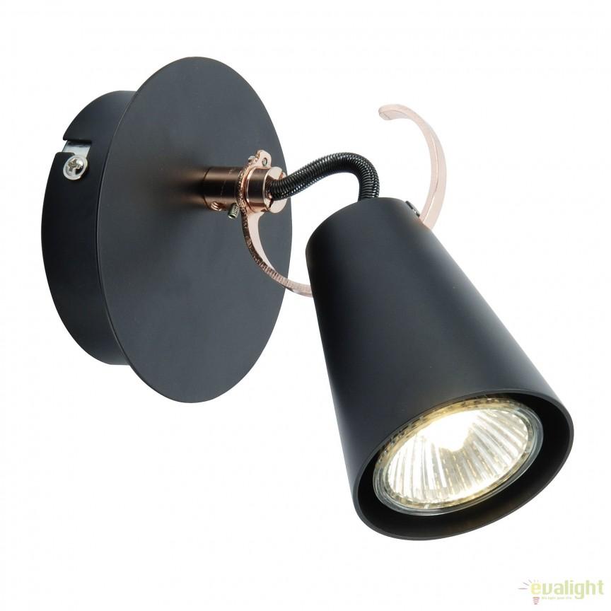 Aplica stil retro cu spot directionabil Saso 1 negru 62710/76 BL, Spoturi - iluminat - cu 1 spot, Corpuri de iluminat, lustre, aplice, veioze, lampadare, plafoniere. Mobilier si decoratiuni, oglinzi, scaune, fotolii. Oferte speciale iluminat interior si exterior. Livram in toata tara.  a