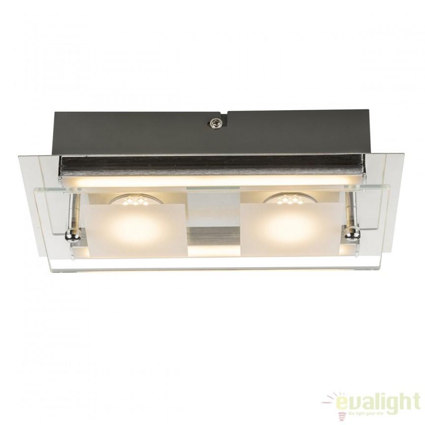 Aplica de perete LED moderna PATRA 12Watt 49402-2 GL, Plafoniere LED, Spoturi LED, Corpuri de iluminat, lustre, aplice, veioze, lampadare, plafoniere. Mobilier si decoratiuni, oglinzi, scaune, fotolii. Oferte speciale iluminat interior si exterior. Livram in toata tara.  a