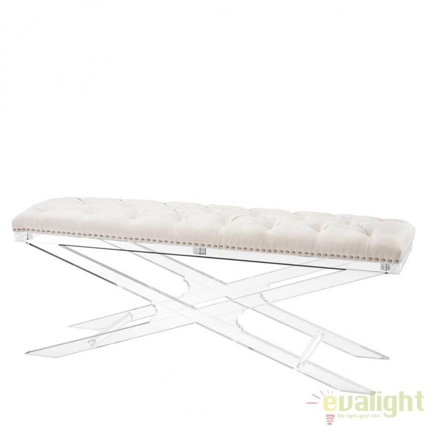 Bancheta design LUX cu picioare acrilice transparente, Bruno ecru, Tabureti - Banci, Corpuri de iluminat, lustre, aplice, veioze, lampadare, plafoniere. Mobilier si decoratiuni, oglinzi, scaune, fotolii. Oferte speciale iluminat interior si exterior. Livram in toata tara.  a