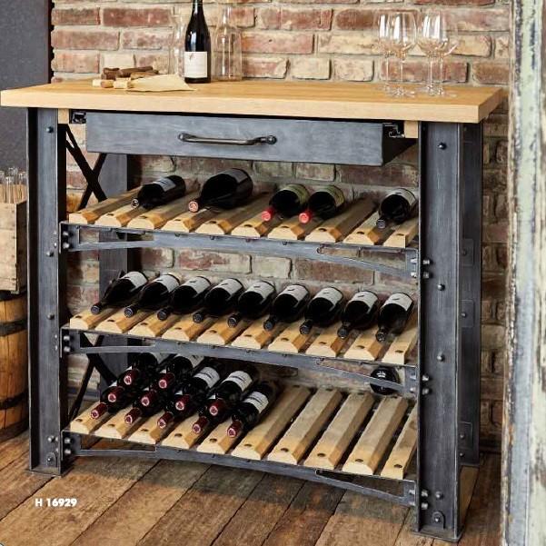 Raft sticle de vin design industrial din fier forjat H 16929, Vitrine - Rafturi, Corpuri de iluminat, lustre, aplice, veioze, lampadare, plafoniere. Mobilier si decoratiuni, oglinzi, scaune, fotolii. Oferte speciale iluminat interior si exterior. Livram in toata tara.  a