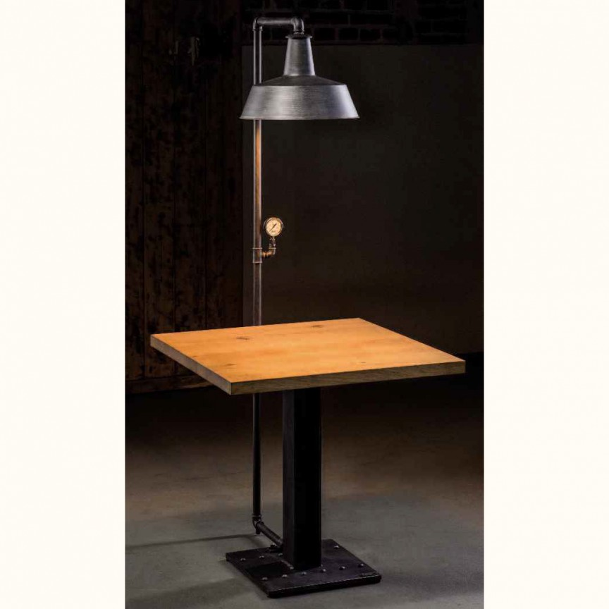 Masa design industrial din fier forjat cu lampa inclusa H 16933, Veioze, Lampadare Fier Forjat,  a