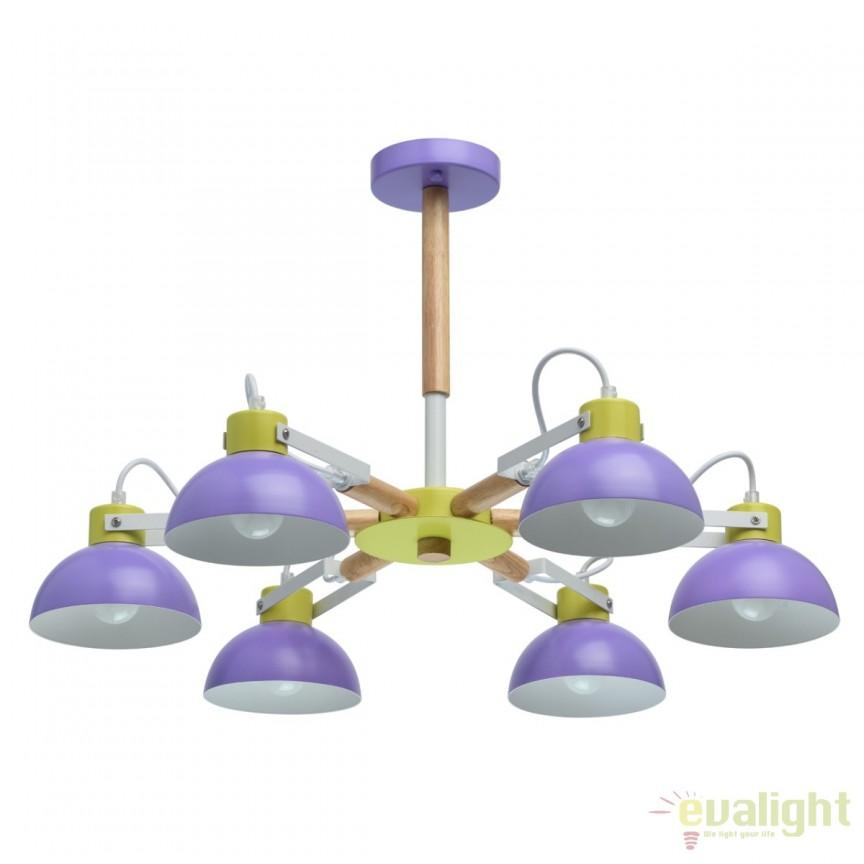 Lustra moderna camera tineret Lary 6L violet 711010306 MW, Lustre - Iluminat pentru camera Copii, Corpuri de iluminat, lustre, aplice, veioze, lampadare, plafoniere. Mobilier si decoratiuni, oglinzi, scaune, fotolii. Oferte speciale iluminat interior si exterior. Livram in toata tara.  a