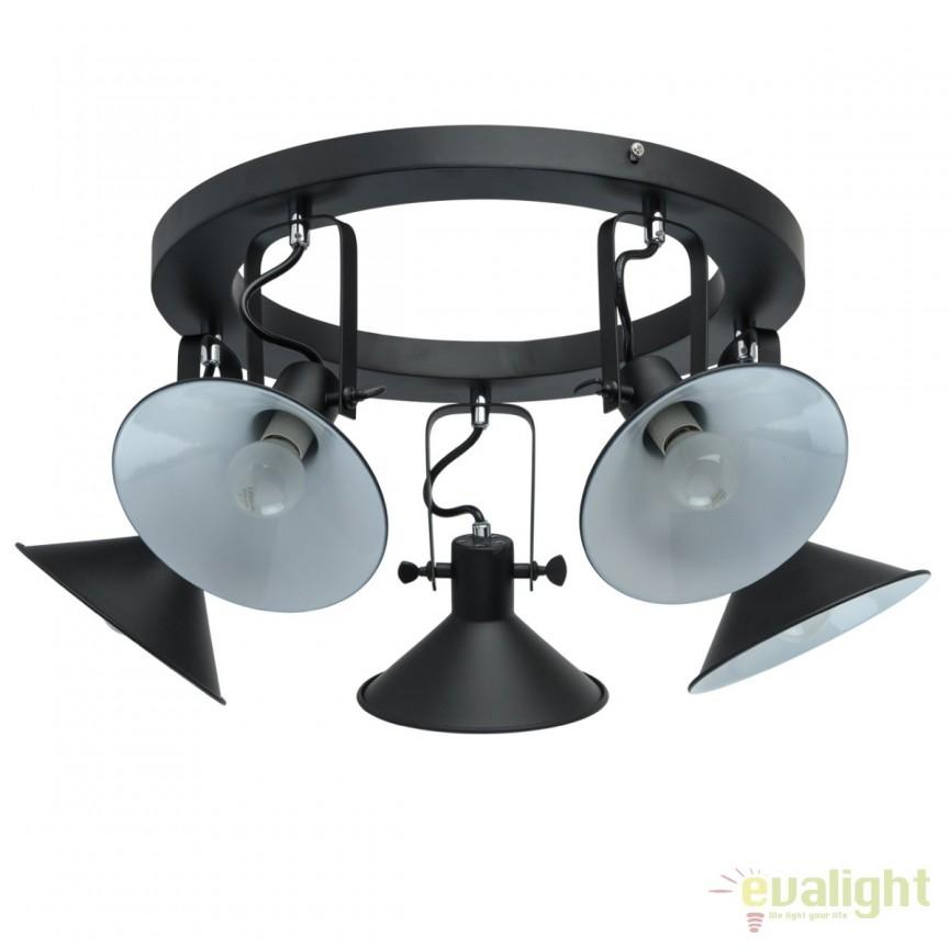 Lustra aplicata stil retro / industrial Radomil 5L 691012105 MW, Spoturi - iluminat - cu 5 si 6 spoturi, Corpuri de iluminat, lustre, aplice, veioze, lampadare, plafoniere. Mobilier si decoratiuni, oglinzi, scaune, fotolii. Oferte speciale iluminat interior si exterior. Livram in toata tara.  a