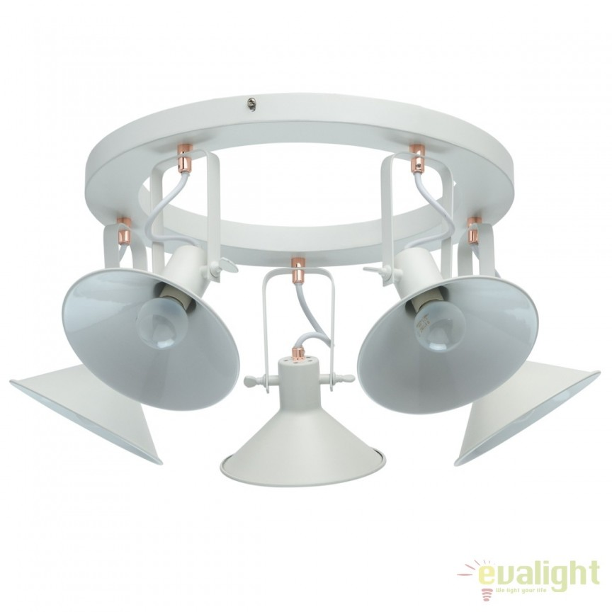 Lustra aplicata stil retro / industrial Radomil alba 5L 691012205 MW, Spoturi - iluminat - cu 5 si 6 spoturi, Corpuri de iluminat, lustre, aplice, veioze, lampadare, plafoniere. Mobilier si decoratiuni, oglinzi, scaune, fotolii. Oferte speciale iluminat interior si exterior. Livram in toata tara.  a