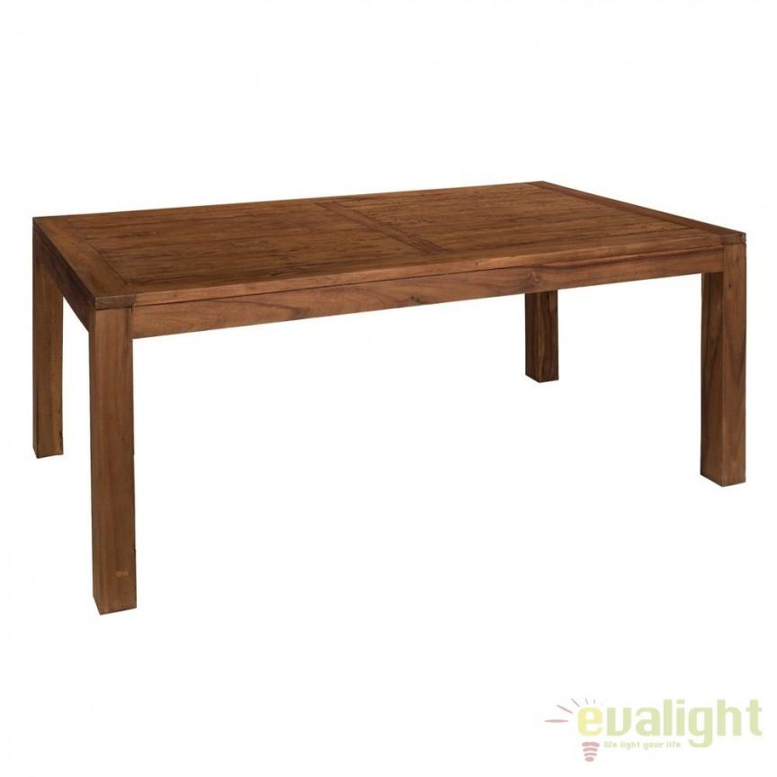 Masa din lemn design rustic-vintage Simply, 240x100cm SX-120496, Mese dining, Corpuri de iluminat, lustre, aplice, veioze, lampadare, plafoniere. Mobilier si decoratiuni, oglinzi, scaune, fotolii. Oferte speciale iluminat interior si exterior. Livram in toata tara.  a