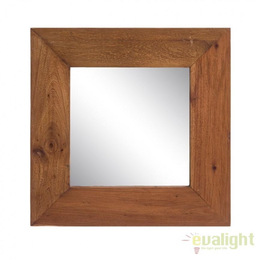 Oglinda cu lemn design rustic-vintage Simply, 50x50cm SX-120501, Oglinzi decorative, Corpuri de iluminat, lustre, aplice, veioze, lampadare, plafoniere. Mobilier si decoratiuni, oglinzi, scaune, fotolii. Oferte speciale iluminat interior si exterior. Livram in toata tara.  a