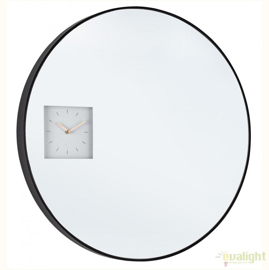 Oglinda de perete cu ceas integrat GLACE D60 0242660 BZ, Oglinzi decorative, Corpuri de iluminat, lustre, aplice, veioze, lampadare, plafoniere. Mobilier si decoratiuni, oglinzi, scaune, fotolii. Oferte speciale iluminat interior si exterior. Livram in toata tara.  a