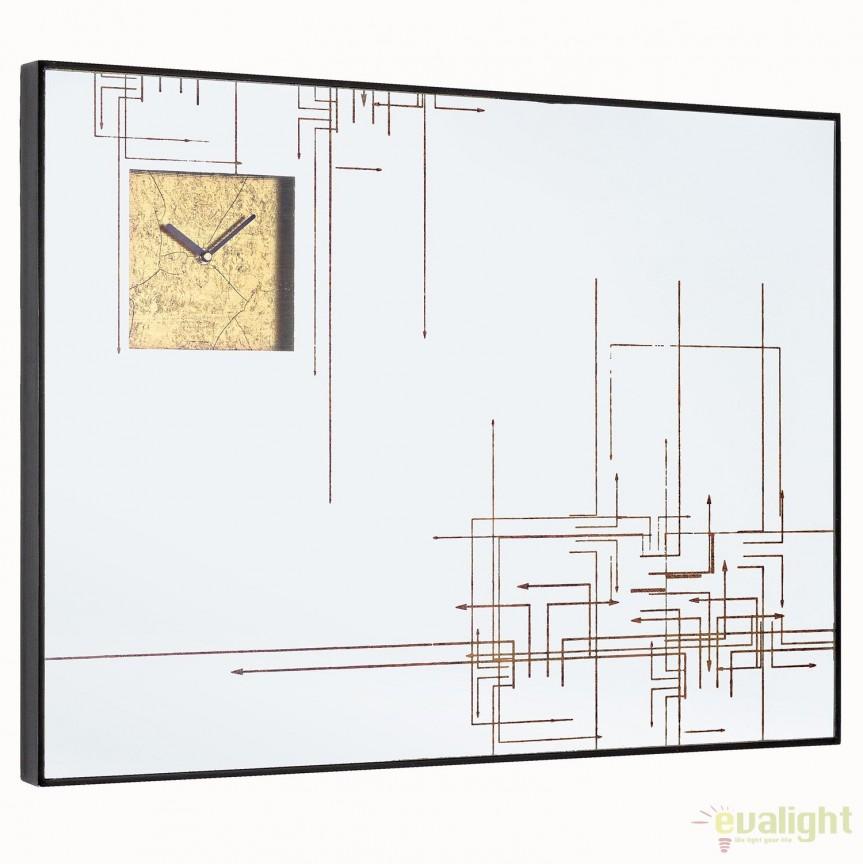 Oglinda de perete cu ceas integrat GLACE 80X60cm 0242663 BZ, Oglinzi decorative , moderne✅ decoratiuni de perete cu oglinda⭐ modele mari si rotunde pentru Hol, Living, Dormitor si Baie.❤️Promotii la oglinzi cu design decorativ❗ Intra si vezi poze ✚ pret ➽ www.evalight.ro. ➽ sursa ta de inspiratie online❗ Alege oglinzi deosebite Art Deco de lux pentru decorare casa, fabricate de branduri renumite. Aici gasesti cele mai frumoase si rafinate obiecte de decor cu stil contemporan unicat, oglinzi elegante cu suport de prindere pe perete, de masa sau de podea potrivite pt dresing, cu rama din metal cu aspect antichizat sau lemn de culoare aurie, sticla argintie in diferite forme: oglinzi in forma de soare, hexagonale tip fagure hexagon, ovale, patrate mici, rectangulara sau dreptunghiulara, design original exclusivist: industrial style, retro, vintage (produse manual handmade), scandinav nordic, clasic, baroc, glamour, romantic, rustic, minimalist. Tendinte si idei actuale de designer pentru amenajari interioare premium Top 2020❗ Oferte si reduceri speciale cu vanzare rapida din stoc, oglinzi de calitate la cel mai bun pret. a