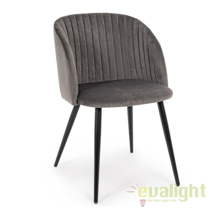 Set de 2 scaune design modern QUEEN gri inchis 0734281 BZ, Seturi scaune dining, scaune HoReCa, Corpuri de iluminat, lustre, aplice, veioze, lampadare, plafoniere. Mobilier si decoratiuni, oglinzi, scaune, fotolii. Oferte speciale iluminat interior si exterior. Livram in toata tara.  a