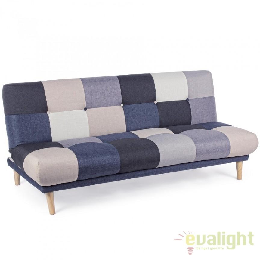 Canapea extensibila din lemn de brad cu 3 locuri APRIL gri 5760745 BZ, Cele mai noi produse 2018 a