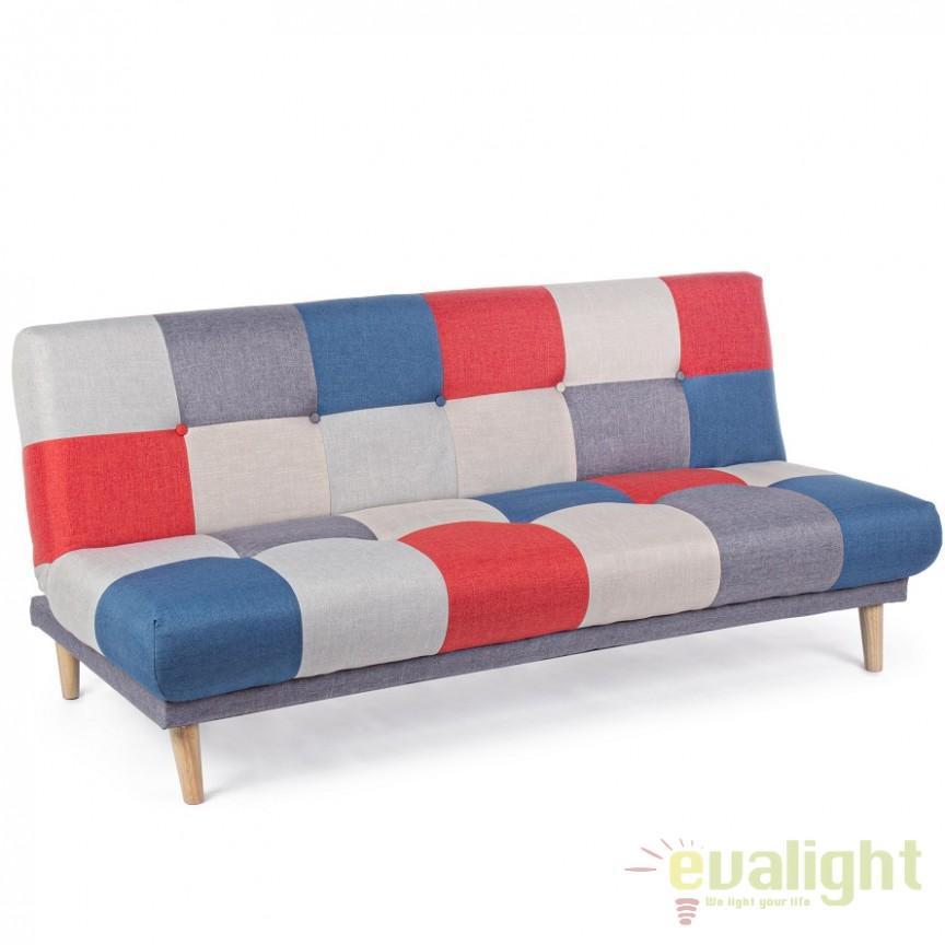 Canapea extensibila cu tapiterie multicolora cu 3 locuri APRIL 5760746 BZ, Cele mai noi produse 2018 a