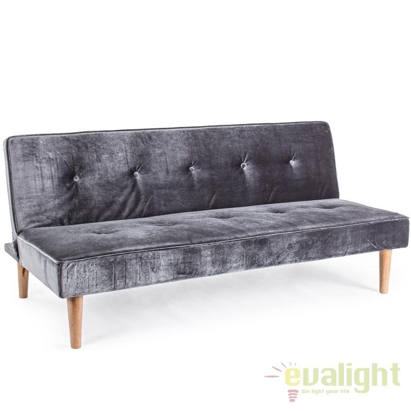 Canapea extensibila cu tapiterie din catifea MINK gri 5731129 BZ, Cele mai noi produse 2018 a