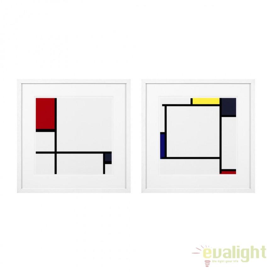 Set 2 tablouri decorative design LUX Piet Mondrian 112753 HZ, Tablouri decorative, Corpuri de iluminat, lustre, aplice, veioze, lampadare, plafoniere. Mobilier si decoratiuni, oglinzi, scaune, fotolii. Oferte speciale iluminat interior si exterior. Livram in toata tara.  a