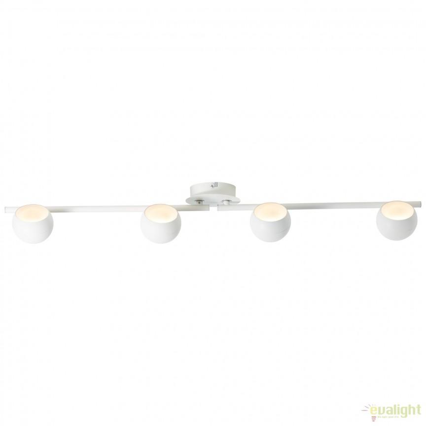 Plafoniera LED cu spoturi directionabile INOVA 4 alba G58032/05 BL, Spoturi - iluminat - cu 4 spoturi, Corpuri de iluminat, lustre, aplice, veioze, lampadare, plafoniere. Mobilier si decoratiuni, oglinzi, scaune, fotolii. Oferte speciale iluminat interior si exterior. Livram in toata tara.  a