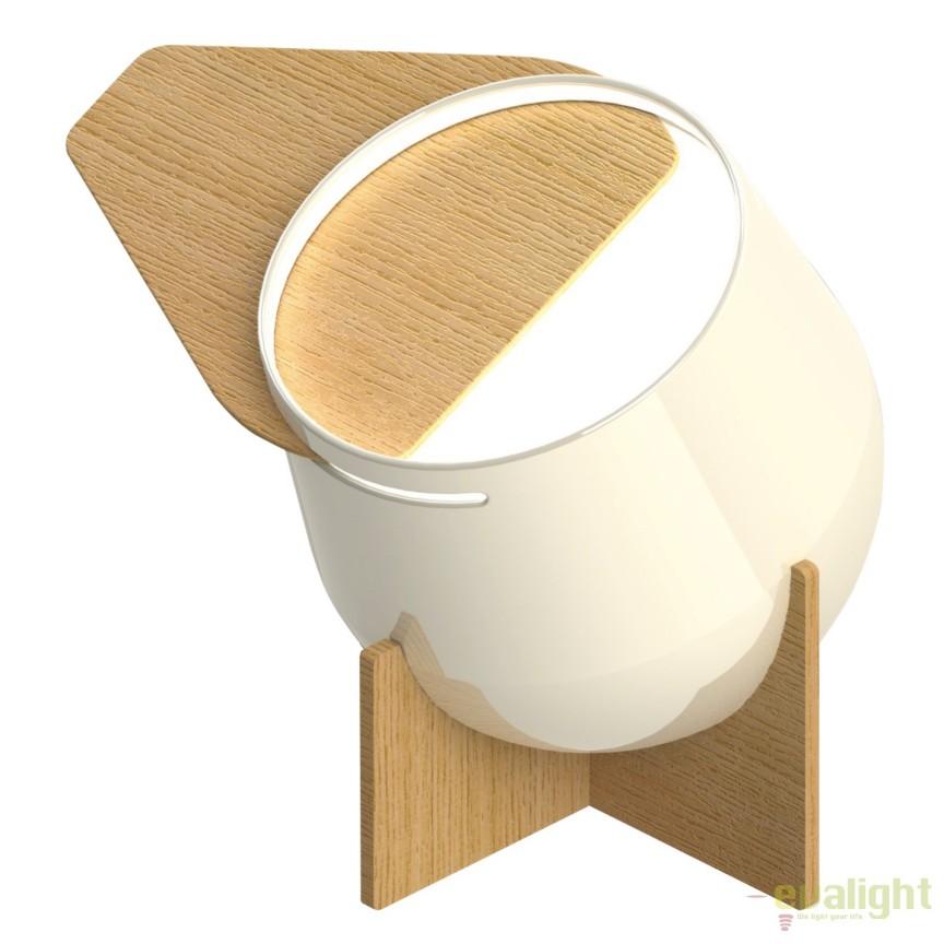 Veioza iluminat LED design proiector cu abajur directionabil si baza din lemn, Nance LED-M50301, Magazin, Corpuri de iluminat, lustre, aplice, veioze, lampadare, plafoniere. Mobilier si decoratiuni, oglinzi, scaune, fotolii. Oferte speciale iluminat interior si exterior. Livram in toata tara.  a