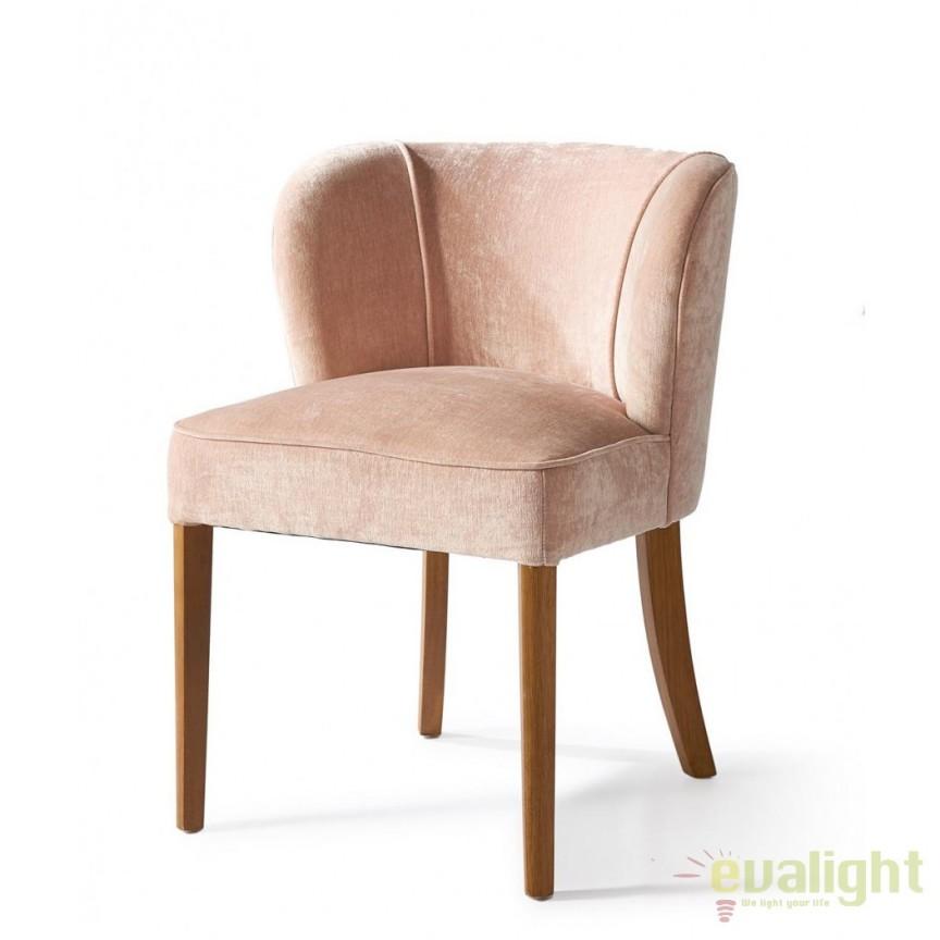 Scaun elegant tapitat cu picioare din lemn Weymouth, catifea roz 3972008RM, Scaune dining , Corpuri de iluminat, lustre, aplice, veioze, lampadare, plafoniere. Mobilier si decoratiuni, oglinzi, scaune, fotolii. Oferte speciale iluminat interior si exterior. Livram in toata tara.  a