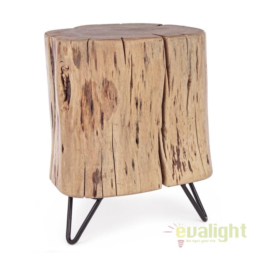 Taburete din lemn de salcam design industrial ARTUR H-41cm 0745641 BZ, Tabureti - Banci, Corpuri de iluminat, lustre, aplice, veioze, lampadare, plafoniere. Mobilier si decoratiuni, oglinzi, scaune, fotolii. Oferte speciale iluminat interior si exterior. Livram in toata tara.  a