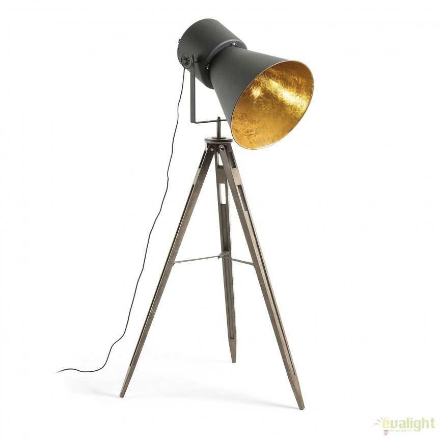 Lampadar / Lampa de podea moderna cu trepied KAPELI AA2050R01 JG, NOU ! Lustre VINTAGE, RETRO, INDUSTRIA Style, Corpuri de iluminat, lustre, aplice, veioze, lampadare, plafoniere. Mobilier si decoratiuni, oglinzi, scaune, fotolii. Oferte speciale iluminat interior si exterior. Livram in toata tara.  a