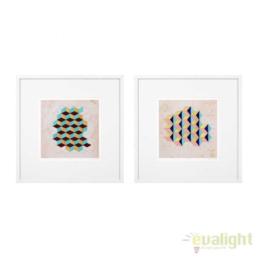 Set 2 tablouri Geometric Pattern Play 85x85cm 112751 HZ, Tablouri decorative, Corpuri de iluminat, lustre, aplice, veioze, lampadare, plafoniere. Mobilier si decoratiuni, oglinzi, scaune, fotolii. Oferte speciale iluminat interior si exterior. Livram in toata tara.  a