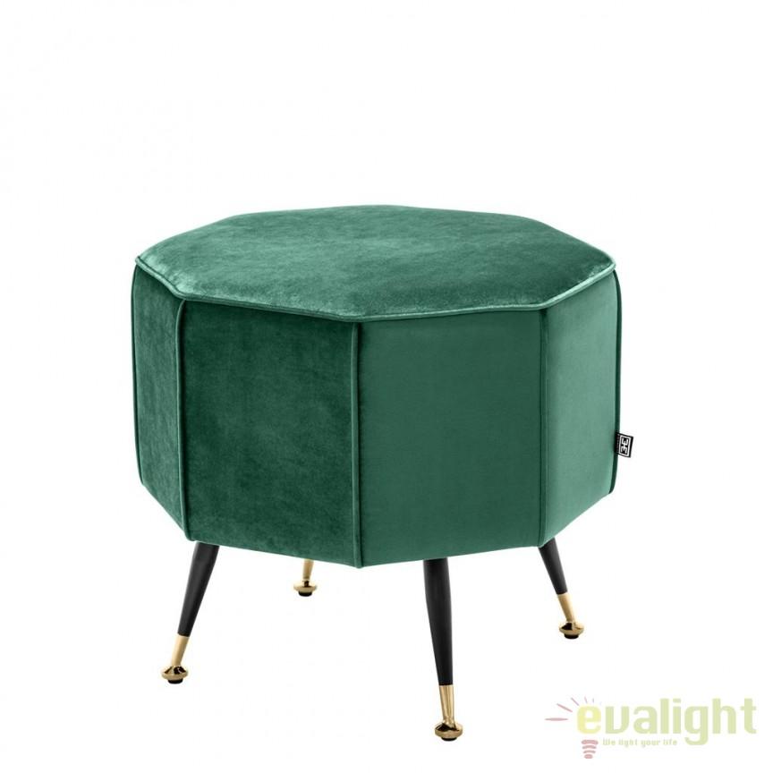 Taburete design LUX Colmar catifea verde 112520 HZ, Tabureti - Banci, Corpuri de iluminat, lustre, aplice, veioze, lampadare, plafoniere. Mobilier si decoratiuni, oglinzi, scaune, fotolii. Oferte speciale iluminat interior si exterior. Livram in toata tara.  a