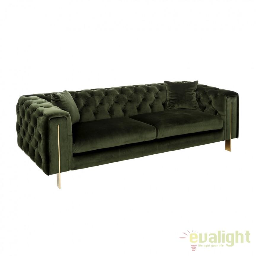 Canapea cu 3 locuri design elegant Barbara catifea verde DZ-105506, Canapele - Coltare, Corpuri de iluminat, lustre, aplice, veioze, lampadare, plafoniere. Mobilier si decoratiuni, oglinzi, scaune, fotolii. Oferte speciale iluminat interior si exterior. Livram in toata tara.  a