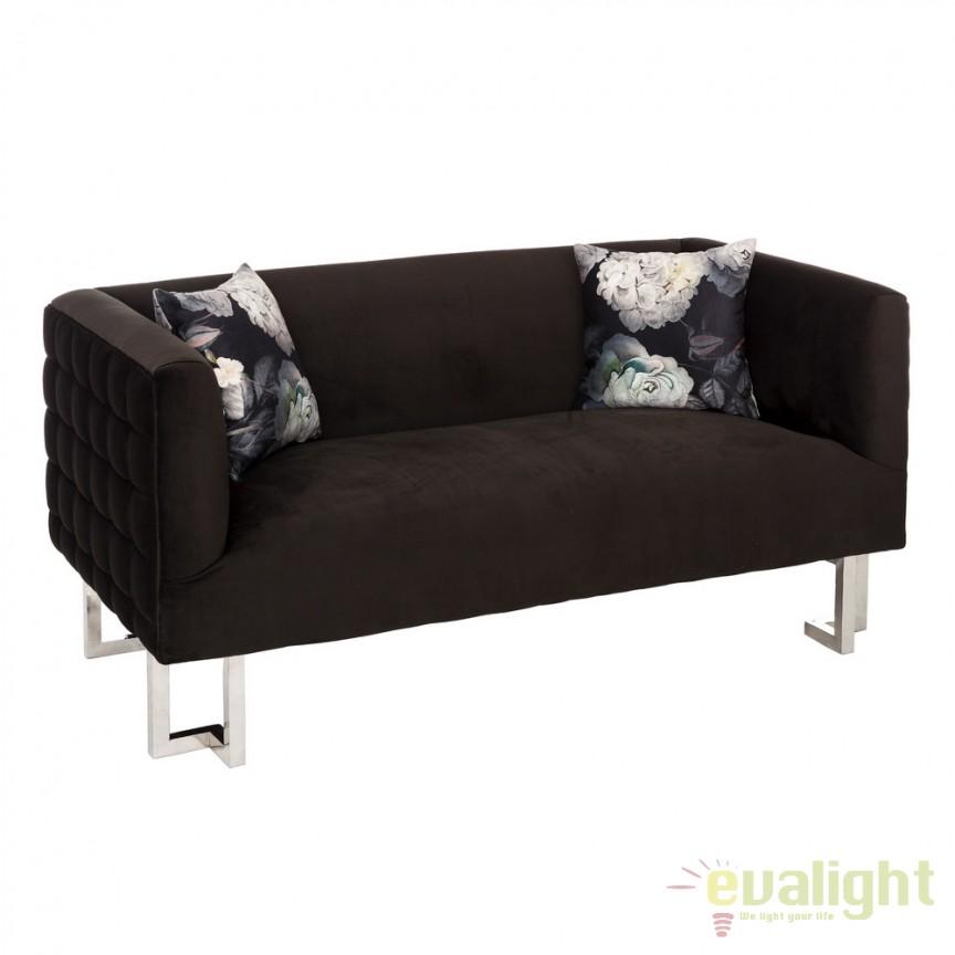 Canapea cu 2 locuri design elegant Evalyn negru DZ-105496, Canapele - Coltare, Corpuri de iluminat, lustre, aplice, veioze, lampadare, plafoniere. Mobilier si decoratiuni, oglinzi, scaune, fotolii. Oferte speciale iluminat interior si exterior. Livram in toata tara.  a