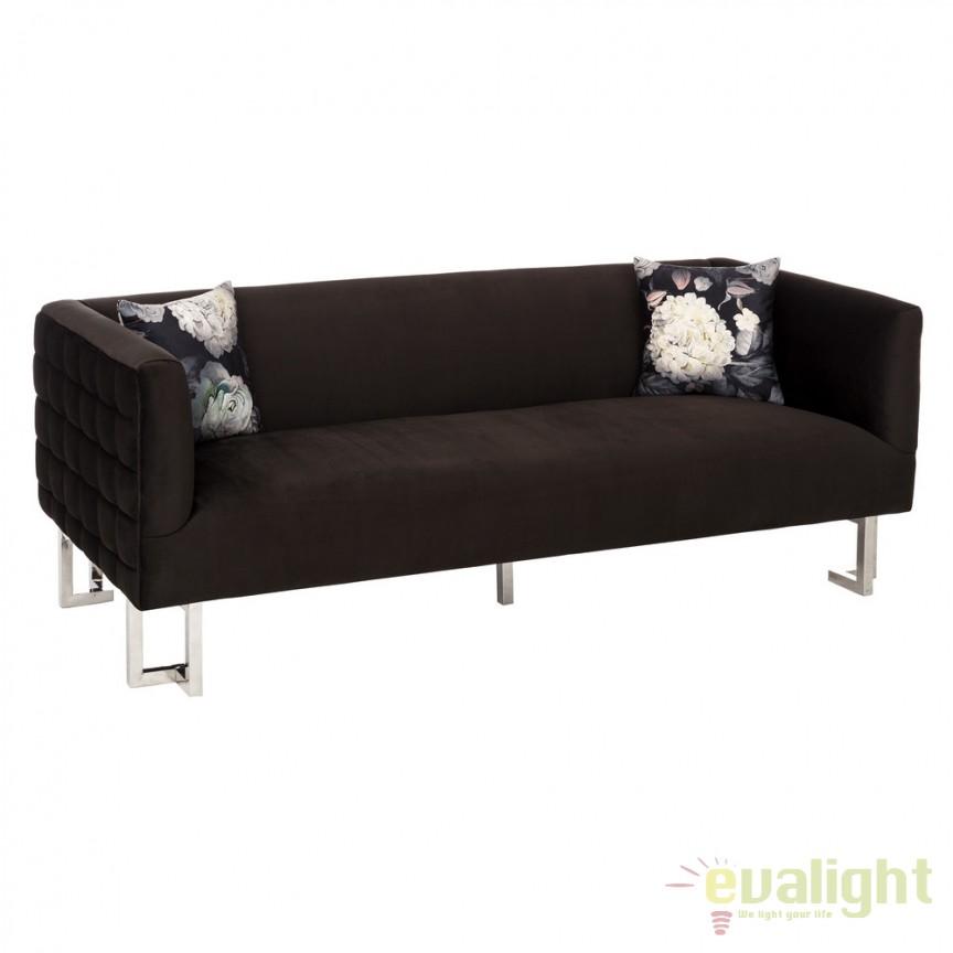 Canapea cu 3 locuri design elegant Evalyn negru DZ-105497, Canapele - Coltare, Corpuri de iluminat, lustre, aplice, veioze, lampadare, plafoniere. Mobilier si decoratiuni, oglinzi, scaune, fotolii. Oferte speciale iluminat interior si exterior. Livram in toata tara.  a