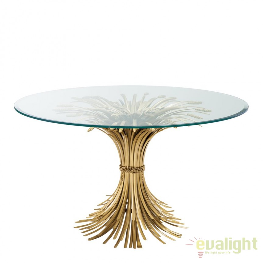 Masa design LUX Bonheur diam.130cm auriu finisaj antic 112128 HZ, Scaune dining , Corpuri de iluminat, lustre, aplice, veioze, lampadare, plafoniere. Mobilier si decoratiuni, oglinzi, scaune, fotolii. Oferte speciale iluminat interior si exterior. Livram in toata tara.  a