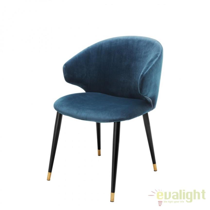 Scaun design elegant LUX Volante albastru 112778 HZ, Scaune dining , Corpuri de iluminat, lustre, aplice, veioze, lampadare, plafoniere. Mobilier si decoratiuni, oglinzi, scaune, fotolii. Oferte speciale iluminat interior si exterior. Livram in toata tara.  a