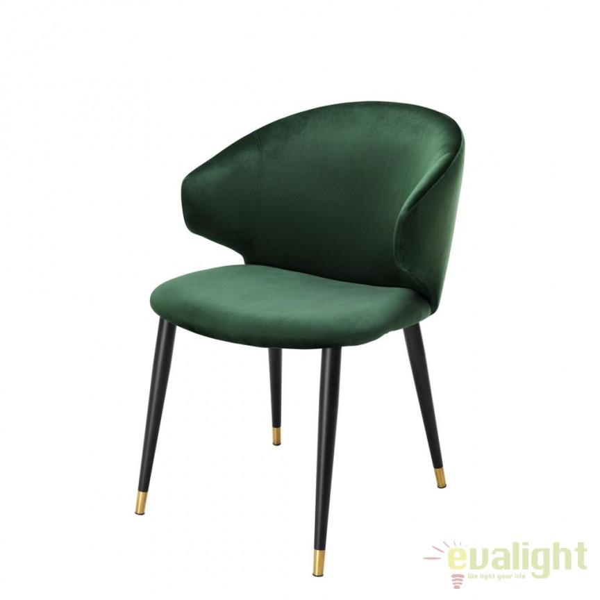 Scaun design elegant LUX Volante verde inchis 112775 HZ, Scaune dining , Corpuri de iluminat, lustre, aplice, veioze, lampadare, plafoniere. Mobilier si decoratiuni, oglinzi, scaune, fotolii. Oferte speciale iluminat interior si exterior. Livram in toata tara.  a