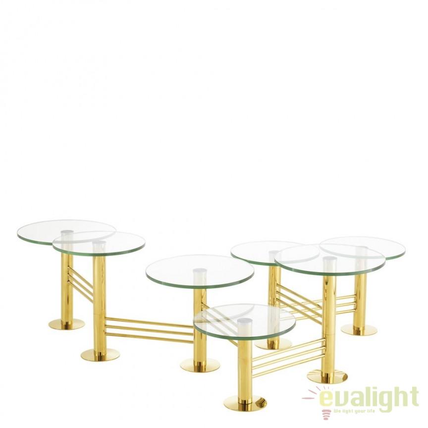 Masuta de cafea design LUX Viva 112452 HZ auriu/ transparent, Masute de cafea, Corpuri de iluminat, lustre, aplice, veioze, lampadare, plafoniere. Mobilier si decoratiuni, oglinzi, scaune, fotolii. Oferte speciale iluminat interior si exterior. Livram in toata tara.  a