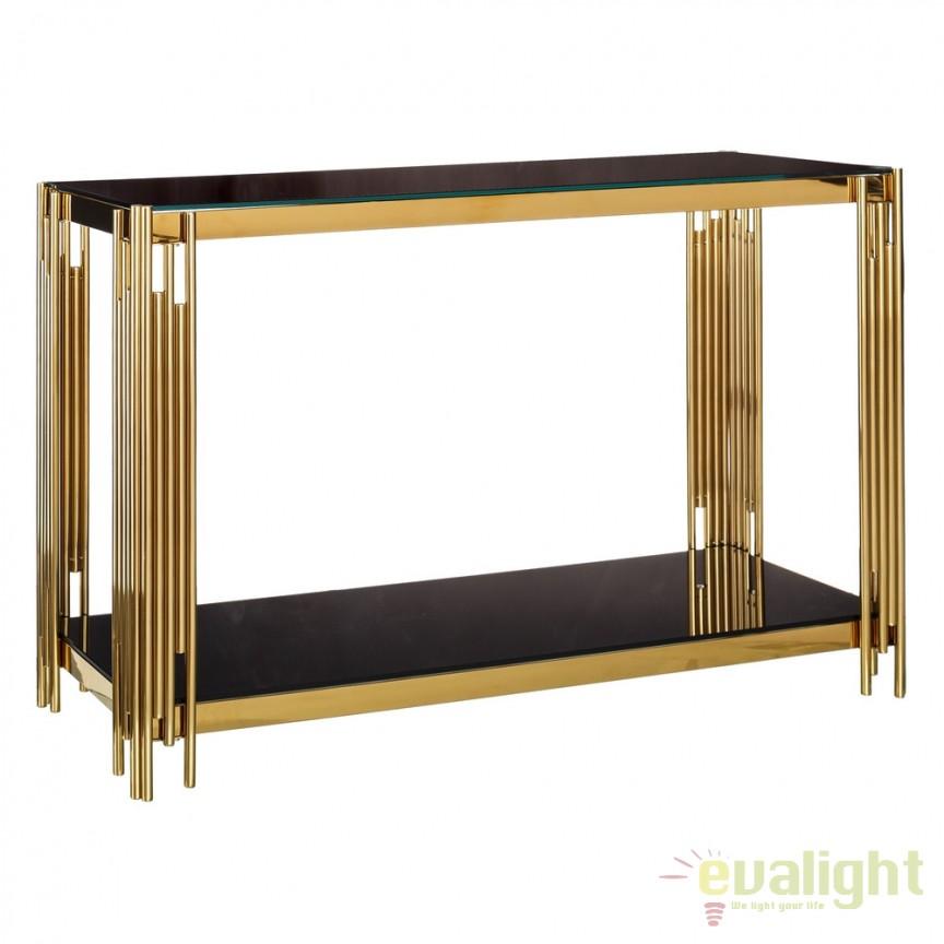 Consola design elegant Gale 120x40cm auriu-negru DZ-105574, Console - Birouri, Corpuri de iluminat, lustre, aplice, veioze, lampadare, plafoniere. Mobilier si decoratiuni, oglinzi, scaune, fotolii. Oferte speciale iluminat interior si exterior. Livram in toata tara.  a