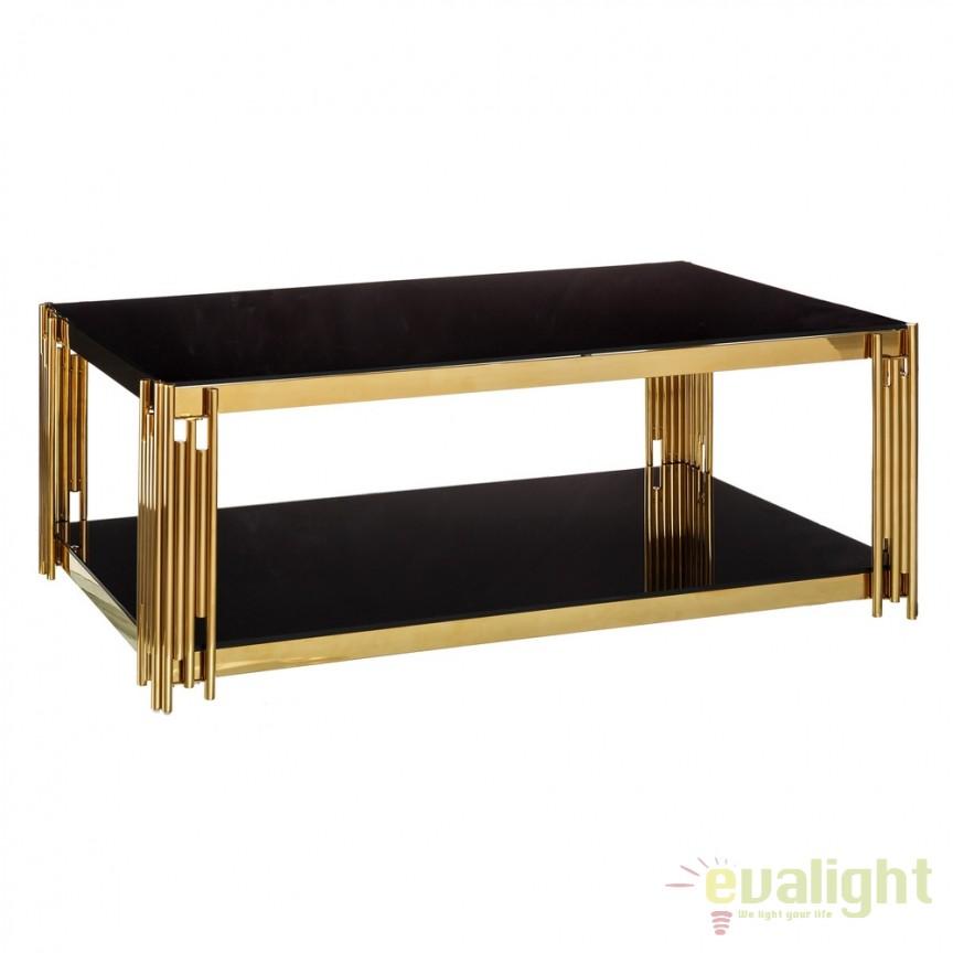 Masuta design elegant Gale 120x60cm auriu-negru DZ-105573, Masute de cafea, Corpuri de iluminat, lustre, aplice, veioze, lampadare, plafoniere. Mobilier si decoratiuni, oglinzi, scaune, fotolii. Oferte speciale iluminat interior si exterior. Livram in toata tara.  a