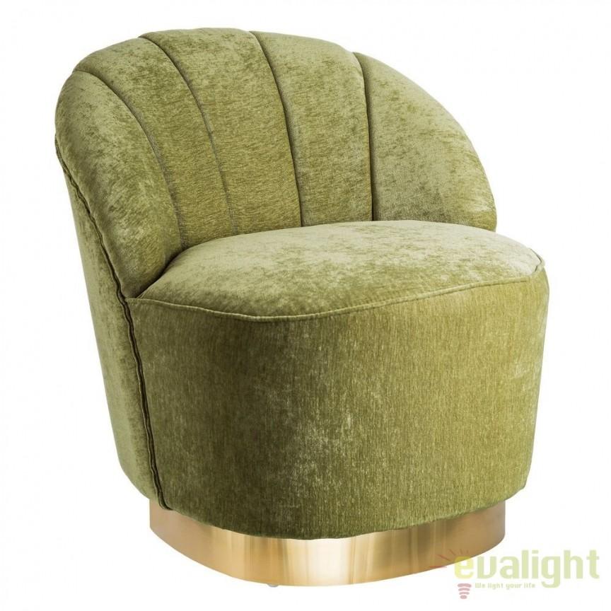 Fotoliu elegant, confortabil design modern Tomson, catifea verde SX-105647, Corpuri de iluminat, lustre, aplice, veioze, lampadare, plafoniere. Mobilier si decoratiuni, oglinzi, scaune, fotolii. Oferte speciale iluminat interior si exterior. Livram in toata tara.