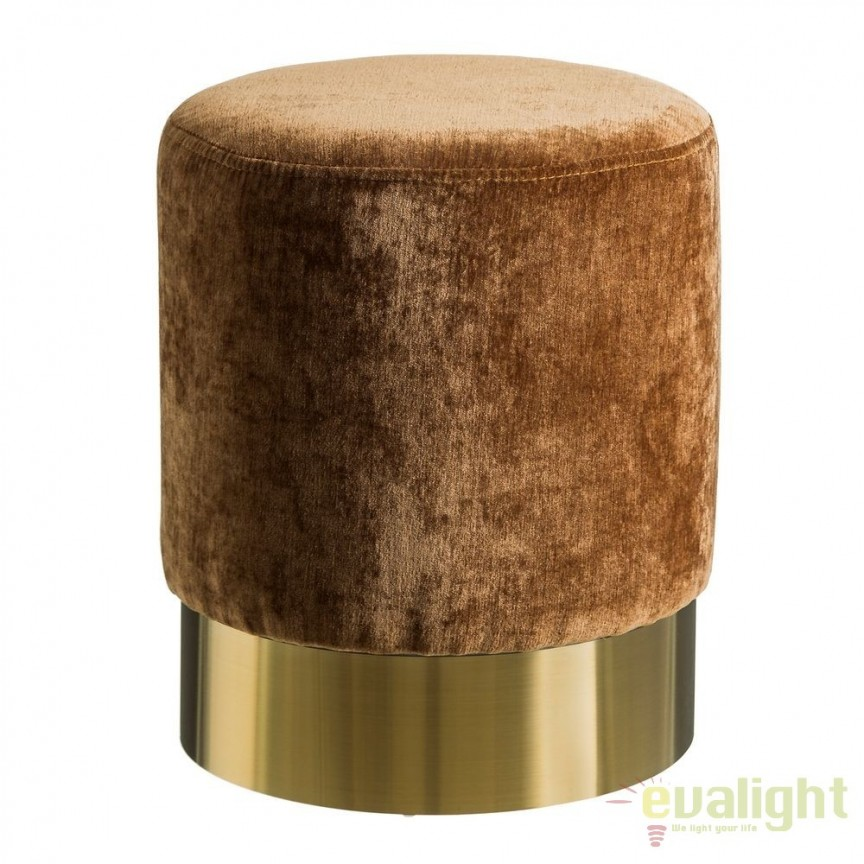 Taburete elegant Tomson, catifea ocru SX-105628, Tabureti - Banci, Corpuri de iluminat, lustre, aplice, veioze, lampadare, plafoniere. Mobilier si decoratiuni, oglinzi, scaune, fotolii. Oferte speciale iluminat interior si exterior. Livram in toata tara.  a
