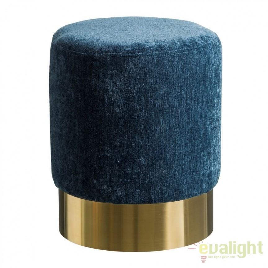 Taburete elegant Tomson, catifea albastra SX-105629, Tabureti - Banci, Corpuri de iluminat, lustre, aplice, veioze, lampadare, plafoniere. Mobilier si decoratiuni, oglinzi, scaune, fotolii. Oferte speciale iluminat interior si exterior. Livram in toata tara.  a
