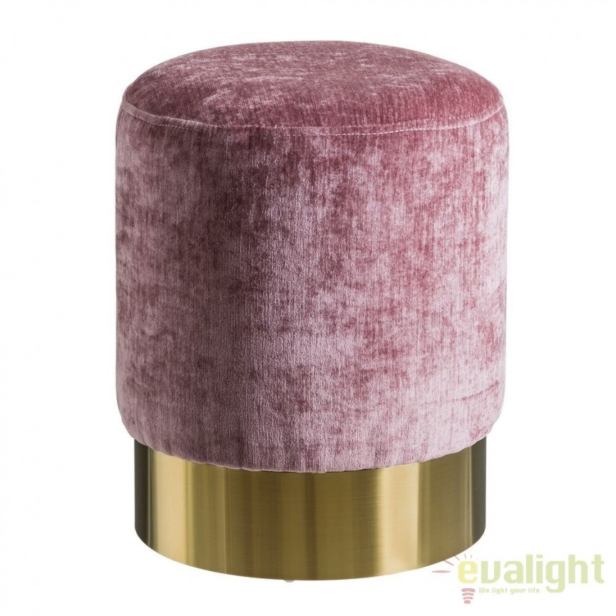 Taburete elegant Tomson, catifea roz SX-105630, Tabureti - Banci, Corpuri de iluminat, lustre, aplice, veioze, lampadare, plafoniere. Mobilier si decoratiuni, oglinzi, scaune, fotolii. Oferte speciale iluminat interior si exterior. Livram in toata tara.  a