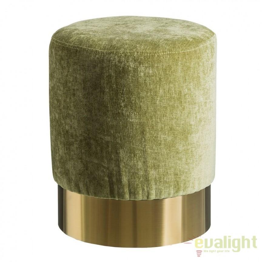 Taburete elegant Tomson, catifea verde SX-105632, Corpuri de iluminat, lustre, aplice, veioze, lampadare, plafoniere. Mobilier si decoratiuni, oglinzi, scaune, fotolii. Oferte speciale iluminat interior si exterior. Livram in toata tara.